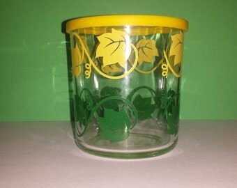 Vintage Hazel Atlas Glass, 1950's, Cottage Cheese Container with Yellow and Green Leaves, 1950's