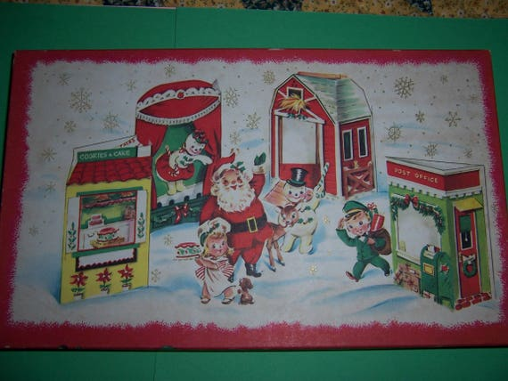 Vintage Christmas Card Box, 8 Unused Children's  Christmas Cards, 1950's Christmas, Fold Out Card, Vintage Santa, Reindeer