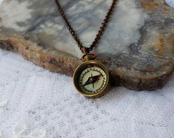 Miniature  Compass Necklace, Steampunk Jewelry, Brass Compass  Necklace, Nautical Jewelry, Tiny Steampunk  Compass Necklace