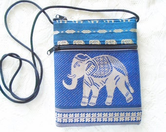 Elephant silk purse with strap, Travel purse, Cell phone purse, Card wallet, Change purse, Coin purse, Choose your purse color