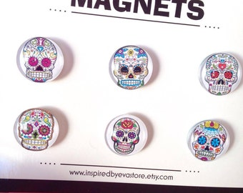 FREE SHIPPING AUS - Sugar Skulls Glass Magnets - 6 Piece Glass Magnet Set - Sugar Skull Prints - Super Strong - Great Gifts