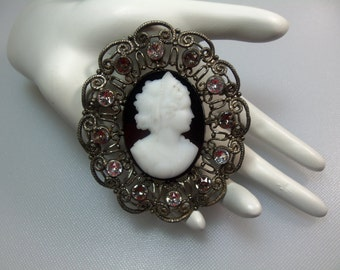 Vintage Large Antiqued Silver Tone Filigree Victorian Revival Black and White Glass Cameo Brooch/Pendant with Smoke and Clear Rhinestones