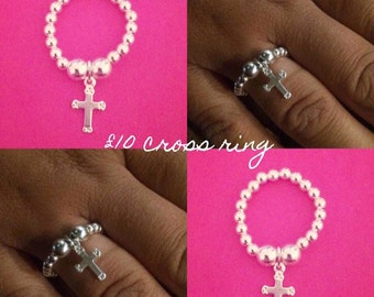 Sterling Silver Cross Charm Ring