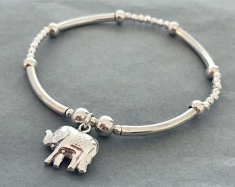 Sterling Silver Elephant Charm Noodle and Hammered Bead Bracelet