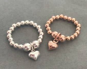 Rose Gold or Sterling Silver Heart Charm Ring