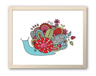 Cute Bright Snail | Instant Digital Print Download | Full Colour Original Doodle Design