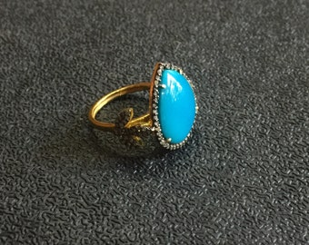 Turquoise Ring, Turquoise Ring With Diamonds, Engagement Ring, Turquoise Victorian Ring, Arizona Turquoise,Turquoise and Diamond Ring,