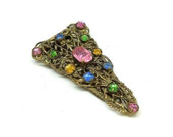 Vintage Czech Dress Clip | 1930s Dress Clip |  Vintage Clip |  Diamante Brooch |  Czech Brooch | Czech Jewellery