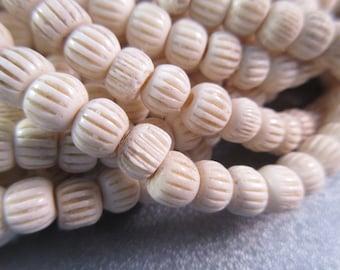 Faux Bone Roundel Beads 78pcs