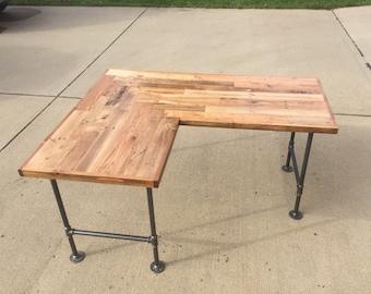 L Shaped Reclaimed Desk w/ black iron legs
