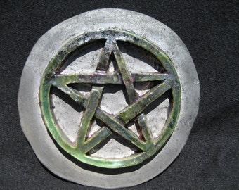 Wiccan pentagram ceramic tile decoration