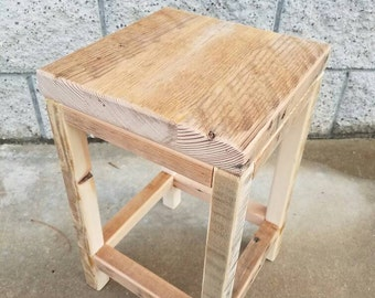 Rustic reclaimed fir low stool