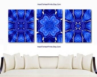 Royal Blue Wall Art Cobalt Blue Floral Abstract Wall Decor Blue Home Decor Flowers Art Prints Navy Rustic Blue Bedroom Bathroom Wall Decor
