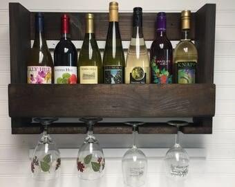 Wooden wine rack | Wall mounted wine rack  | Handcrafted | Rustic wine rack | Wall mount wooden wine rack | Wine crate | Housewarming