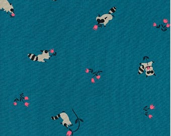 """1/2 YD or 1 YARD Fabric - Cotton+Steel ~ Tanuki Blue by Kim Knight for her """"Yours Truly"""" Collection"""