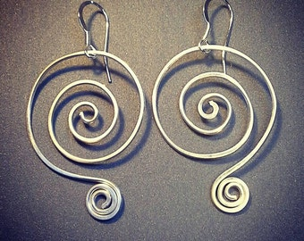 Handmade Sterling Silver Spiral Earrings