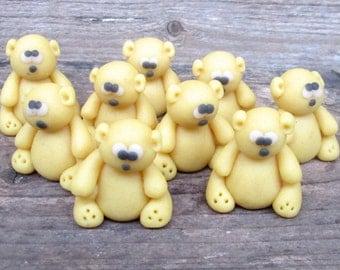Marzipan Teddy Bears (9) - fondant teddy bears - 3D teddy bear cake decorations - edible teddy bear cup cake topper - fondant animals