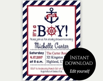 Baby Shower Invitation Template, Nautical Baby Shower Invite, Editable Invitation, Printable Invitation, Baby Shower Invite, Navy Blue, Red