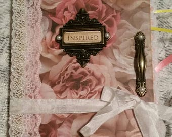 "Vintage Junk Journal ""Inspire"", hand stitched binding, 1"" spine, diary with lace, trim, ribbon, tags, tuck spots and ephemera."