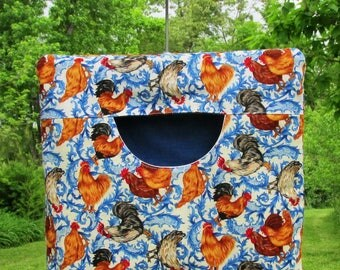 Country Chickens Lined Heavy Clothespin Bag; Custom & Ready-to-ship; mom gift; wedding; Mothers Day; Stays on the line, Repo Vintage