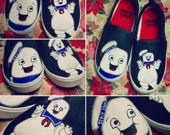 Custom Painted Ghostbuster Shoes - Stay Puft Marshmallow