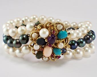 14&18k Yellow Gold Pearl and Multi-Stone Bracelet
