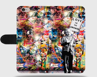 Love Is The Answer Albert Einstein Banksy Street Graffiti Faux Leather Phone Cover with Magnetic Clasp for iPhone and Samsung Galaxy LM014