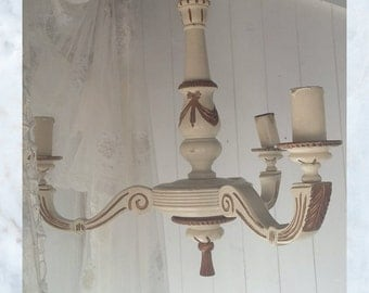 SALE Stunning Antique Vintage French Wood Three Arm Chandelier Light