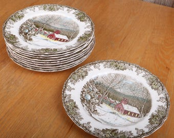 10 Johnson Brothers Friendly Village Dinner Plate The School House