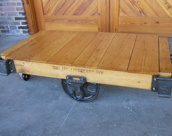 Restored Vintage Tulip-wheel Lineberry Furniture Factory Cart Coffee Table F16101