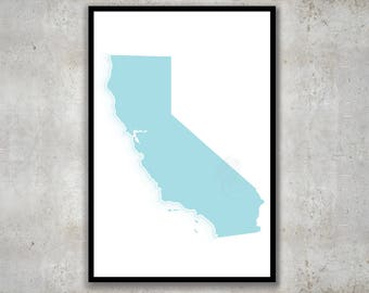 California Coastal Map Print