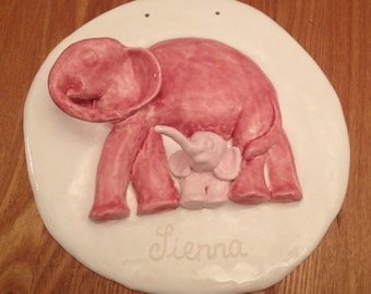 Custom commission personalised baby first art gift nursery decor sculpture pink elephant