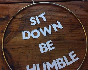 Kendrick Lamar Handmade Silver Metal Wreath Humble Rap Lyrics | Dainty Delicate Letters on Wire | Stay Woke Dorm Office Home Inspiration