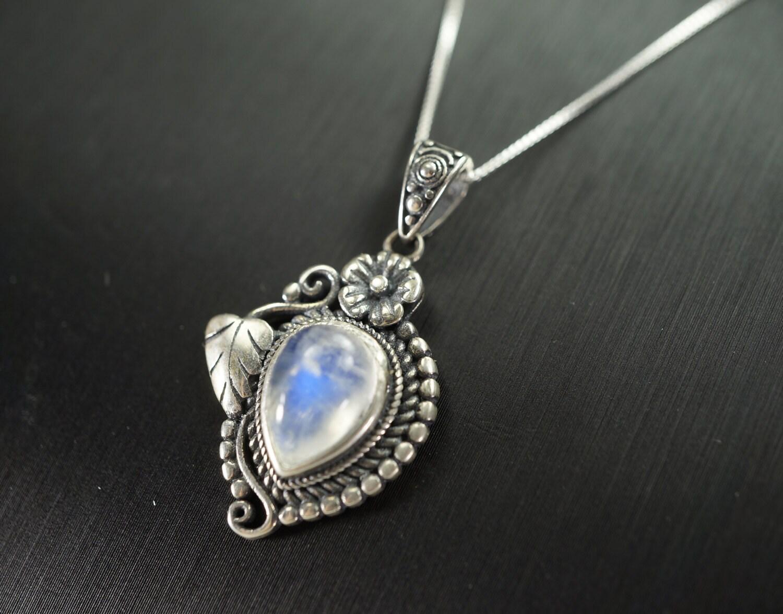 Moonstone Necklace Sterling Silver Leaf Necklace Natural