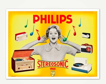 Philips Stereosonic 1960 Vintage Mid Century Advertising Poster Print