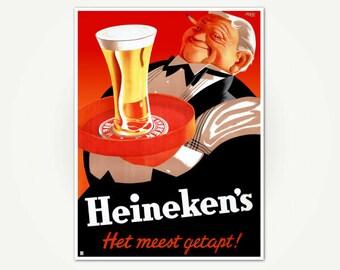 Heineken's het meest getapt! Beer Advertising Poster Print - Poster Art from Dutch Brewer Heineken