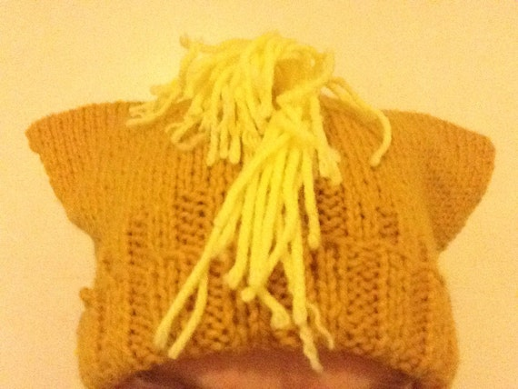 Gold Pony Hat - Hand-Knit Hat with Ears and Fringe - My Little Pony Applejack