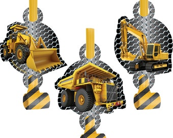 Construction Zone Blowouts [8ct] Digger Trucks Birthday Party Supplies Favors Loot Prizes Supply