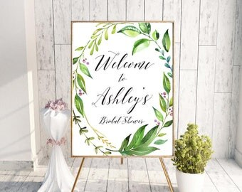 Greenery Welcome Sign, Greenery Bridal Shower Welcome, Bridal Shower Welcome Sign, Greenery Welcome, Welcome Sign, Bridal Shower Welcome