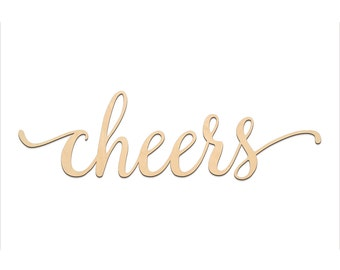 Cheers Script Word Wood Sign, Wooden words, Sign Art, Rustic Cursive Word, Room Decoration, Wall hanging, Laser Cut Unfinished Wood #3001