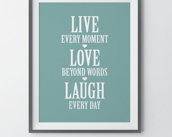 Live Love Laugh Wall Decor Entryway Wall Decor Foyer Decor Housewarming Gift First Home Gift Home Quote Print Wedding Gift