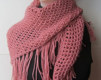 Rose Knitted Scarf/Pink Scarf/Knitted Scarf/Pink Shawl/Knitted Shawl/Knit Shawl/Bohemian Shawl/Knit Scarf/Bohemian Scarf/Rose Shawl/HipScarf