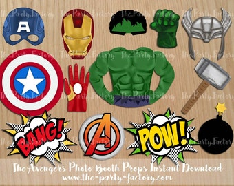 The Avengers Photo Booth Props Instant Download, Printables