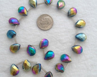 Glass Teardrop Beads with A Rainbow AB Finish (1718)