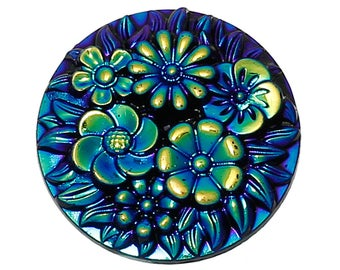 20 mm Acrylic Blue Iris Bouquet Cabochons - Pack of 10 (1390)