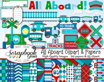 ALL ABOARD Train Clipart & Papers Kit, 25 png Clip arts, 20 jpeg Papers Instant Download railroad train tracks boys lads crossing traintrack
