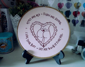 Roses Are Red Hoop Art, Embroidery Art