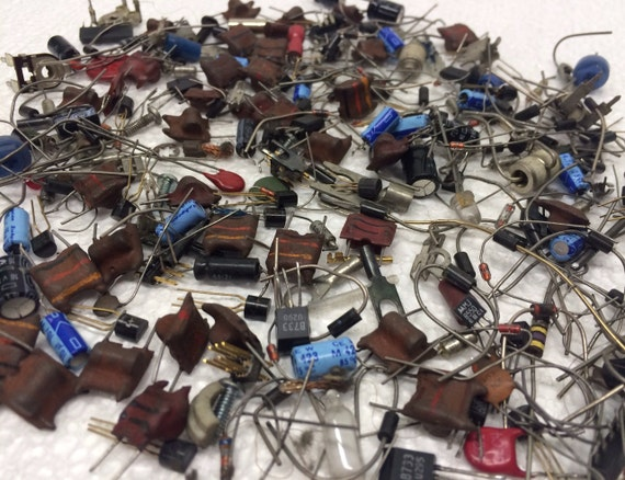 Variety of Vintage Resistors Radio Electronic 200 Small Parts for Jewelry Making Art Assemblage Mixed Media #128