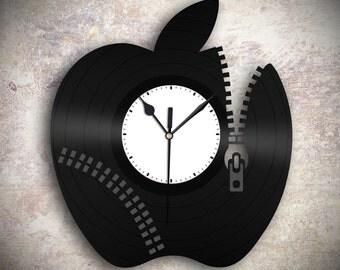 Apple Clock - Unique Wall Clock,  Cool Wall Clock, Modern Wall Clock, Vinyl Record Clock,  Large Wall Clock, Perfect Gift  under 30