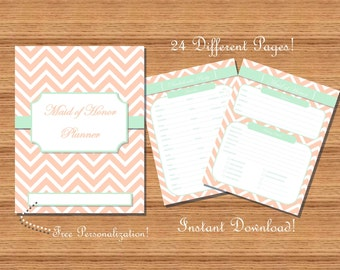 Maid of Honor Planner / Organizer - Mint and Coral Chevron